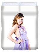 Stylish Woman In Purple Dress Duvet Cover