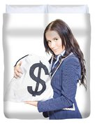 Successful Business Woman Holding Bags Of Money Duvet Cover
