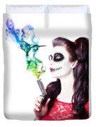 Sugar Skull Girl Blowing On Smoking Gun Duvet Cover