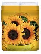 Sunflowers In Vase Duvet Cover by Elena Elisseeva
