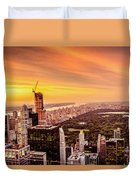 Sunset Over Central Park And The New York City Skyline Duvet Cover