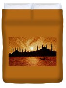 Sunset Over Istanbul Original Coffee Painting Duvet Cover