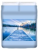 Sunset Over Lake Wylie At A Dock Duvet Cover