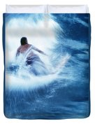 Surfer Carving On Splashing Wave, Interesting Perspective And Blur Duvet Cover