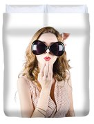 Surprised Beautiful Pin-up Girl. White Background Duvet Cover
