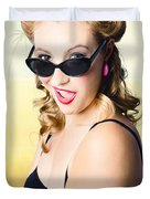Surprised Pinup Girl On Tropical Beach Background Duvet Cover