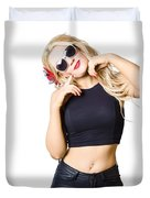 Surprised Pinup Woman Isolated On White Duvet Cover