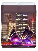 Sydney Skyline At Night With Opera House - Australia Duvet Cover