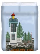 Table Bluff Lighthouse California Duvet Cover