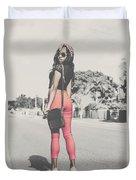 Tall Young Black Woman Modelling Handbag Accessory Duvet Cover