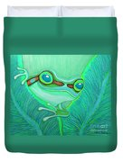 Teal Frog Duvet Cover