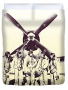 Test Pilots With P-47 Thunderbolt Fighter Duvet Cover
