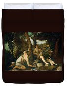 Adam And Eve After The Expulsion From Paradise Duvet Cover