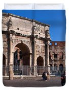 The Arch Of Constantine And Colosseum Duvet Cover