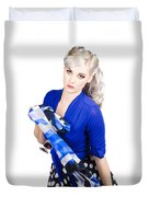 The Classic Pin-up Image. Girl In Retro Style Duvet Cover