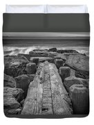 The Jetty In Black And White Duvet Cover