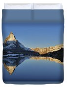 The Matterhorn And Riffelsee Lake Duvet Cover