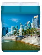 The Merlion  Fountain - Singapore Duvet Cover