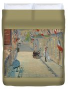 The Rue Mosnier With Flags Duvet Cover
