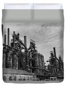 The Steel Mill In Black And White Duvet Cover