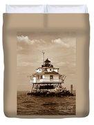 Thomas Point Shoal Lighthouse Sepia No. 2 Duvet Cover