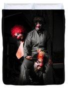 Three Clowns Having Fun Duvet Cover