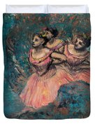Three Dancers In Red Costume Duvet Cover