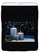 Three Silver Candles In Snow  Duvet Cover