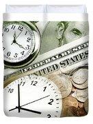 Time Is Money Concept Duvet Cover
