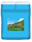Tourboat Stops By Ancient Tombs In Daylan-turkey  Duvet Cover