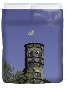Tower And Flag Cologne Germany Duvet Cover