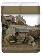 Track Replacement On A Israel Defense Duvet Cover by Ofer Zidon