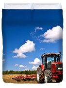 Tractor In Plowed Field Duvet Cover