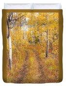 Trail In Golden Aspen Forest Duvet Cover