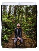 Travel Man Laughing In Tasmania Rainforest Duvet Cover
