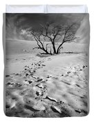 Tree Branch And Footprints On Sleeping Bear Dunes Duvet Cover