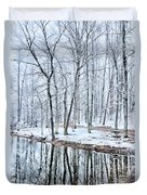 Tree Line Reflections In Lake During Winter Snow Storm Duvet Cover