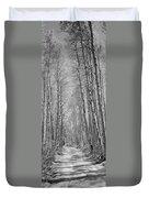 Trees Along A Road, Log Cabin Gold Duvet Cover