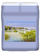 Trees And Reeds Close To The River Duvet Cover