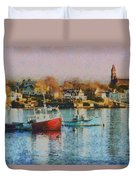 Two Lobster Boats On Marblehead Harbor With A Red Sky Duvet Cover