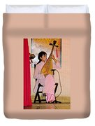 Two-stringed Lute Player At Wedding Ceremony Show In Binh Quoi Village-vietnam  Duvet Cover