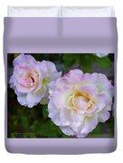 Two White Roses Duvet Cover