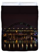Tyne Bridge At Night Duvet Cover