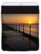 Tynemouth Pier Sunrise Duvet Cover