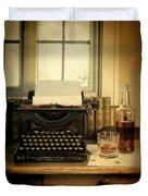 Typewriter And Whiskey Duvet Cover