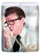 Unhappy Nerd Businessman Yelling Down Retro Phone Duvet Cover