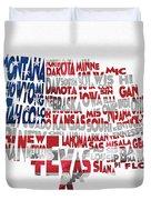 United States Typographic Map Flag Duvet Cover