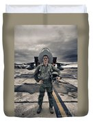 U.s. Air Force Pilot Standing In Front Duvet Cover