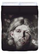 Vampire Woman Holding Flower. Horror Valentine Duvet Cover