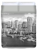 Vancouver Bc Downtown Skyline At False Creek Canada Duvet Cover